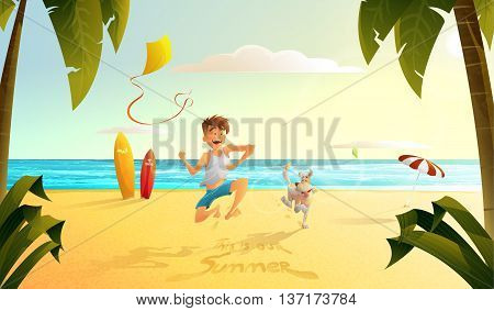 the guy with the dog running along the beach
