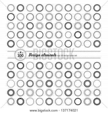 Set of elements for design - decorative round frame and label. A vector.
