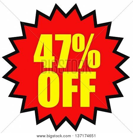 Discount 47 Percent Off. 3D Illustration On White Background.