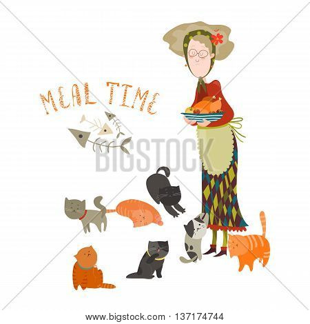 Old woman with her cats. Vector illustration