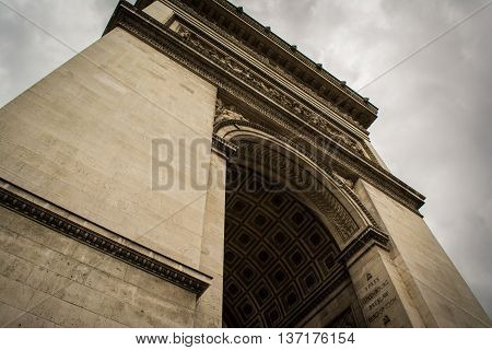 Looking Up at the Epic Arc de Triopmhe