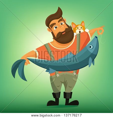Brutal handsome bearded fisherman with big fish. Vector cartoon illustration