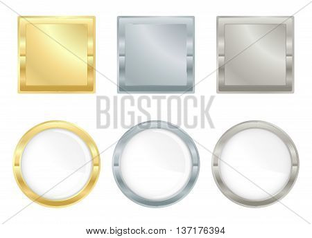 Vector set of square and circular icons of gold silver and platinum