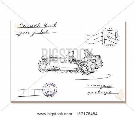 Vintage letter with old car2. Vector illustration eps8