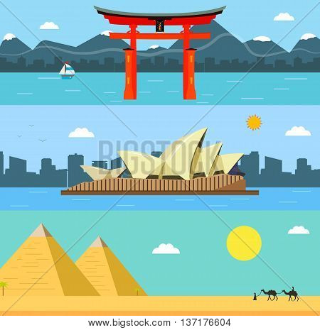 Skylines design with landmarks. Japan, Australia and Egypt world landmarks. Travel and Tourism concept. Vector