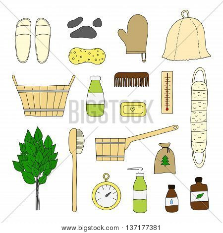 Hand drawn bath and sauna items isolated on white background. Sauna hat birch broom wooden bucket comb cosmetics soap body brush wisp thermometer essential oils.