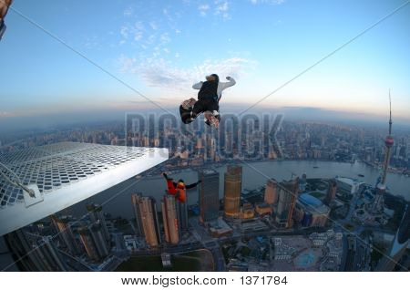 Base Jump In Shanghai At Sunrise