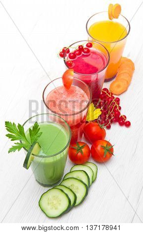 various Freshly Vegetable Juices isolated on white