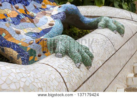 Gaudí's multicolored mosaic salamander in Park Guell Barcelona Spain