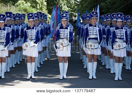 Band-drummer Girls Preparing For The Procession