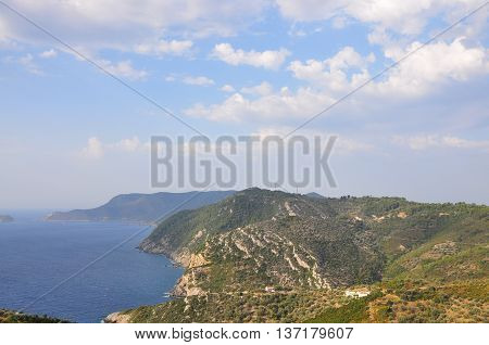 View of Alonissos island from Old Alonissos (Chora), Greece