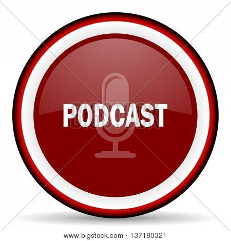 podcast round glossy icon, modern design web element