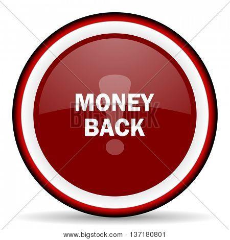 money back round glossy icon, modern design web element