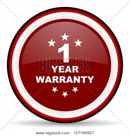 warranty guarantee 1 year round glossy icon, modern design web element