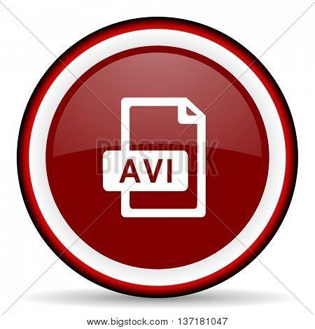 avi file round glossy icon, modern design web element