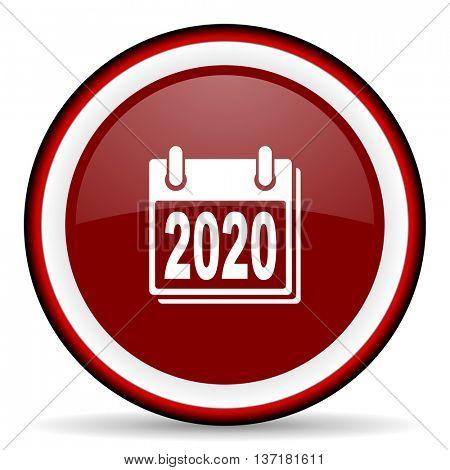 new year 2020 round glossy icon, modern design web element