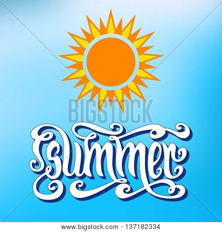 Hand drawn word Summer and yellow sun over abstract blur blue background. Vector hand typography.