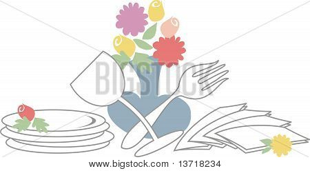 Food and wine table setting dinnerware flowers