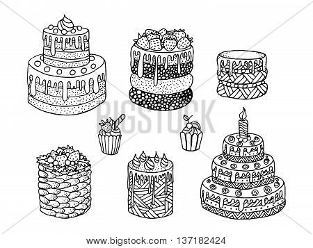 Cartoon cake. Doodle - black and white vector illustration. Drawing by hand, tracy. Seth delicious pastries with fruit.
