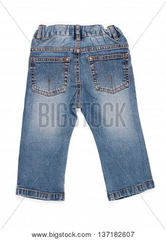 Children Jeans Trousers On A White Background