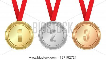 Vector medals gold silver bronze with red ribbon