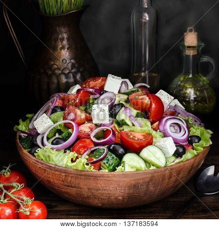Fresh Greek salad in Bowl still life