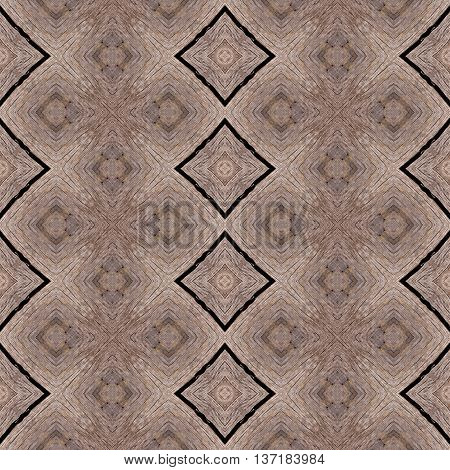 Wood texture in rhombic pattern with annual rings made seamless