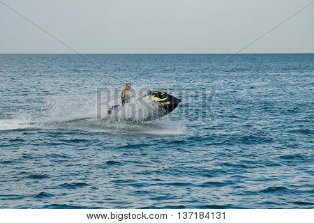 Man Driving On A Hydrocycle