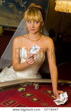 Happy Bride In A Casino
