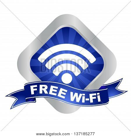 This is blue - silver vector sign free wifi