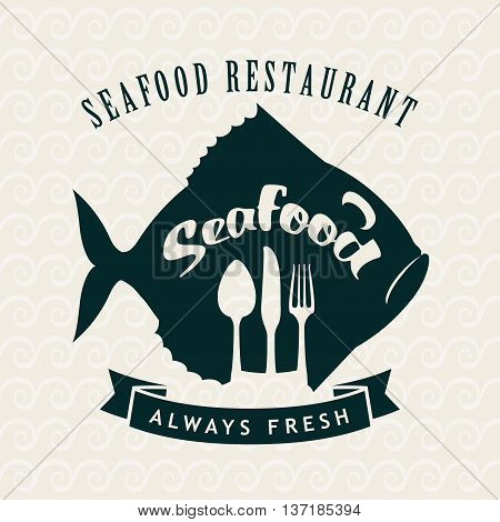 banner for the store or seafood restaurant with fish and cutlery