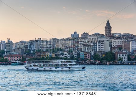 ISTANBUL TURKEY - JUNE 20 2015: The Golden Horn is a major urban waterway and the primary inlet of the Bosphorus in Istanbul Turkey