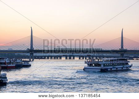 The Golden Horn is a major urban waterway and the primary inlet of the Bosphorus in Istanbul Turkey