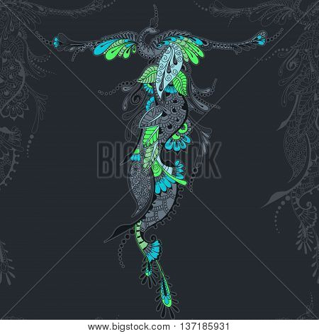 Illustration of flying Phoenix Bird. Peacock with spread wings in mehndi style. Seamless vector template.