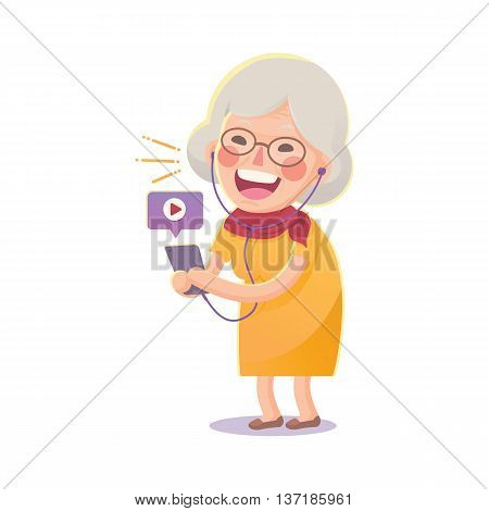 Vector Illustration of Happy Grandma Watch Movie From Smart phone Isolated  on White Background, Cute Cartoon Character