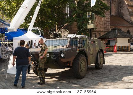 Nurnberg Bavaria / Germany - July 18th 2014: Germany army armored vehicle presented at a local display