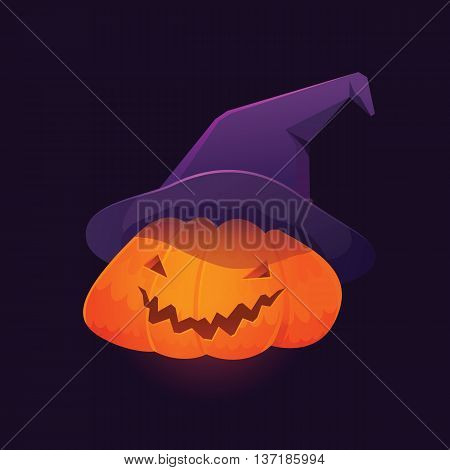 Vector Illustration of Jack 'O Lantern Pumpkin wearing Witch Hat for Halloween