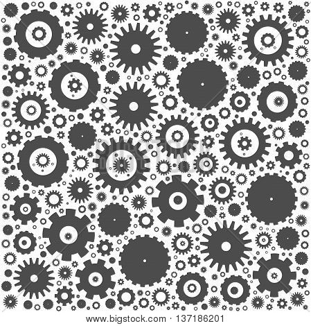 Gear cog wheels background. Grey vector illustration on white background.