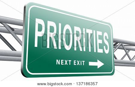 Priorities important very high urgency info lost importance crucial information top priority, road sign billboard, 3D illustration, isolated on white background