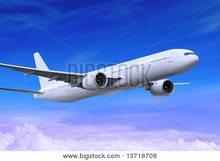 white passenger plane is landing away in the blue sky