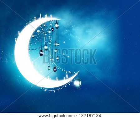 Islamic greeting  Eid Mubarak cards for Muslim Holidays.Eid-Ul-Adha festival celebration . Ramadan Kareem background.Crescent Moon and Lanterns Lightnings in sky