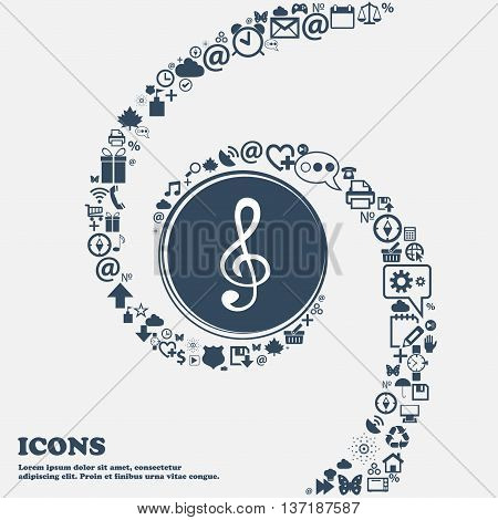 Treble Clef Icon In The Center. Around The Many Beautiful Symbols Twisted In A Spiral. You Can Use E