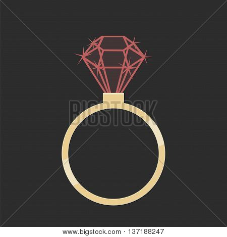 Gold ring with a ruby on a gray background