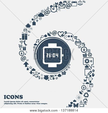 Wristwatch Icon In The Center. Around The Many Beautiful Symbols Twisted In A Spiral. You Can Use Ea