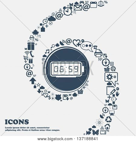 Alarm Clock Icon In The Center. Around The Many Beautiful Symbols Twisted In A Spiral. You Can Use E