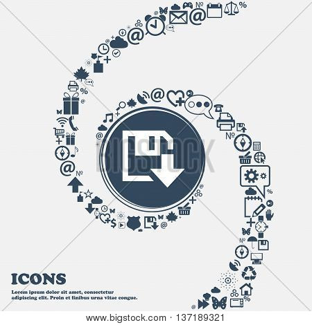 Floppy Icon. Flat Modern Design In The Center. Around The Many Beautiful Symbols Twisted In A Spiral