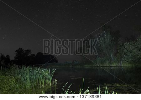 Summer night sky over the river. Starry night landscape.