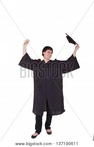 Young graduate wearing a cap and gown isolated on white
