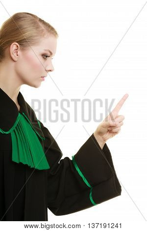 Law court or justice concept. Woman female person lawyer attorney black green gown wagging her finger girl scolding isolated on white