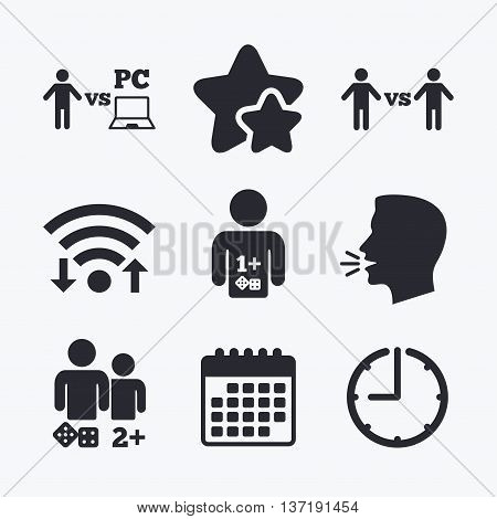 Gamer icons. Board and PC games players signs. Player vs PC symbol. Wifi internet, favorite stars, calendar and clock. Talking head. Vector